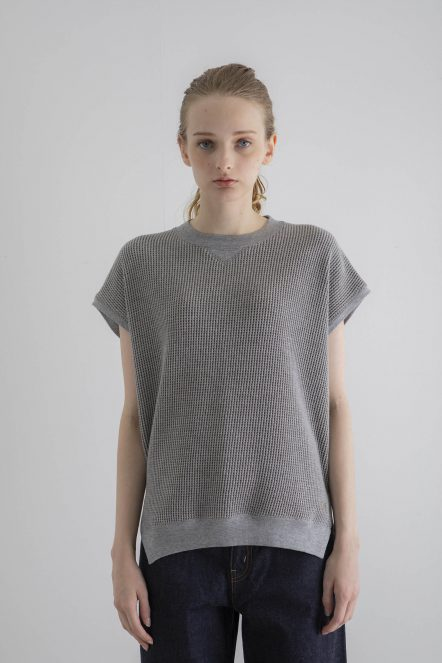 THERMAL SLEEVE LESS-T(KAHKI GREY)-FRONT